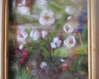 Roses in a countryside frontage garden - wool fiber art, wall hanging, wool picture