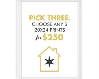 You Pick 3 20x24 Giclée Prints // The Perfect 20x24 Trio // Custom Set of 3