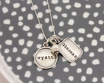 Mommy Necklace - Custom Framed Name Tags Necklace - sterling silver - personalized by Tag You're It Jewelry - name necklace - gift for her