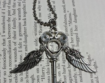 Flying Heart Winged Key Necklace #6 - Wire Wrapped, OOAK, Wings Move