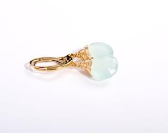 Mint Earrings, Chalcedony Earrings, Mint Jewelry, Small Gem Earrings, Mint Green Gemstone Earrings, Semi Precious Stone Earrings, Gemstones