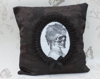 Lady skull steampunk victorian gothic  cameo pillow cushion black damask halloween macabre home decor