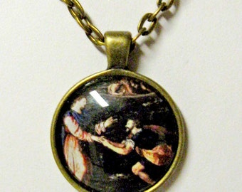 Peter with Christ walking on water pendant with chain - AP05-034