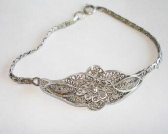 Silver Filigree Antique Bracelet