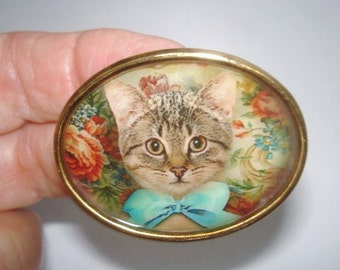 Cat with Bow Brooch