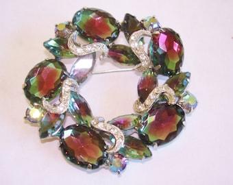 Amethyst  Crystal Clear Rhinestone Silver Tone Brooch Jewelry
