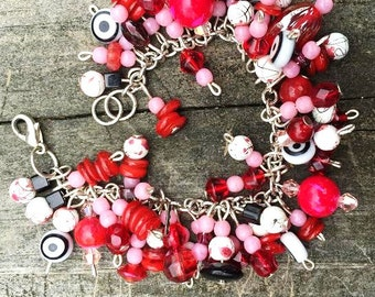 "Bracelet - Bright Beaded Charm Bracelet - Blood Red, Pink, Black, White - ""You Have Never Lived"""
