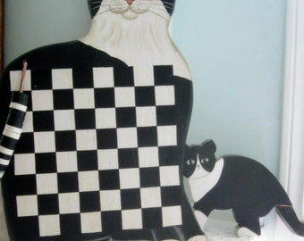 Game Board, Checkers, Cat Game Board, Black and White, Wall Hanging, Games and Toys, by mailordervintage on etsy