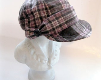 Hat, Cap, Baker Boy Hat, Brown Plaid, Newspaper Boy Hat, by mailordervintage on etsy