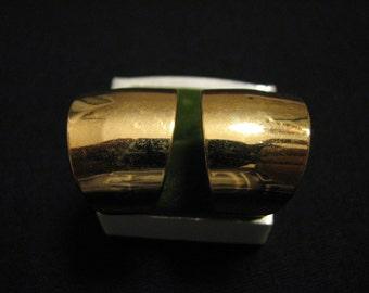 BIG Vintage Napier Gold Plated Teardrop Hoop Pierced Earrings