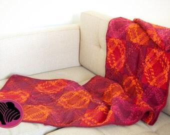 Ready to ship handwoven wool sofa blanket, terracote, orange and fuchsia