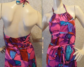 Vtg 1960s Stained Glass Halter Maxi dress with Wrap detailing at waist Medium Tall