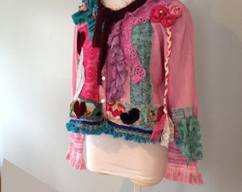 Gypsy Caravan cropped cardi Wearable art Tunic by Gina Louise XL Desigual Inspired