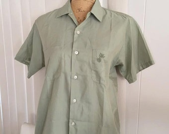 Vintage 50's 60's Men's Short Sleeve Button Front Shirt in Green -- Retro - Rockabilly Size M