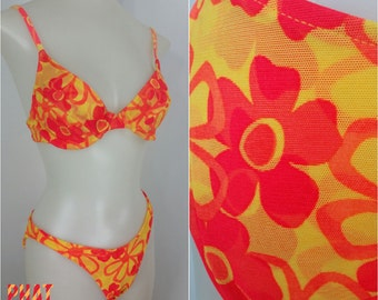 Vintage Acid Psychedelic Neon Orange & Yellow Vivid Flower Power Mod 90s Bikini!