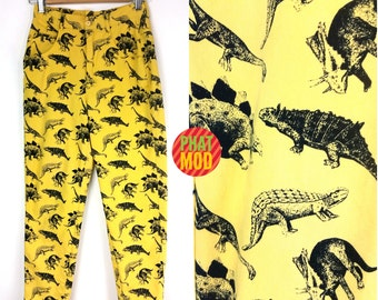 TOTALLY RAD Vintage 90s Yellow Dinosaur Print Esprit Jeans Pants!