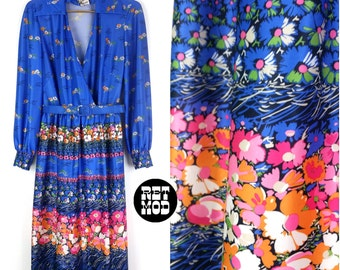 Beautiful Blue, Orange, Pink, White Flower Power 70s Vintage Dress!
