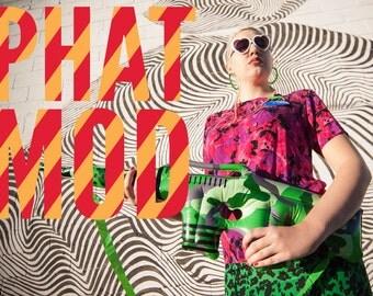 Brilliant Magenta & Black Camo Silk 90s Top - Pop Art Pow!!