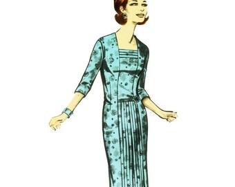 1960s Sheath Dress with Pleat Detail Pattern Ringier 3242 B50 XL