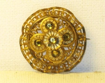 Antique Vintage Victorian Gold Wash Citrine Rhinestone Brooch Pin (B-4-5)