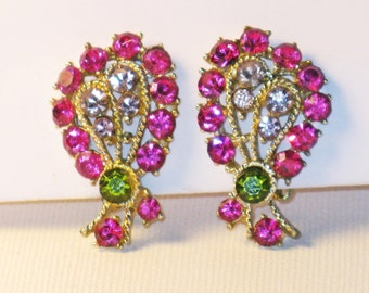 Vintage Pink and Green Rhinestone Bow Clip Earrings (E-1-6)