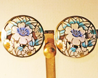 Vintage White and Blue Cloisonne Floral Clip Earrings (E-1-6)