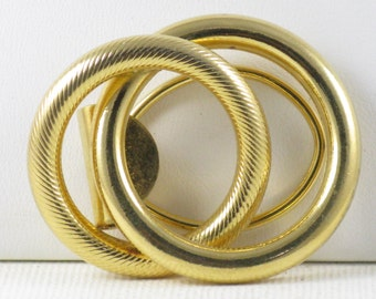 Vintage Gold Tone Circles Scarf Holder (A-1)