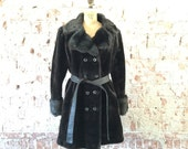 Vintage 1960s Mod Faux Fur Coat Dark Chocolate Brown Sixties Women's Peacoat L