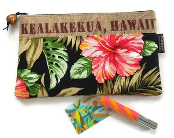 MTO. Custom. Hawaii Clutch. Repurposed Hawaii, USA Coffee Bag with Koa Pull. Handmade in Hawaii.