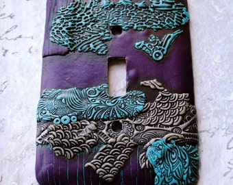 Purple Abstract, light switch cover, polymer clay over metal over sized switch plate, purple, silver, turquoise, black