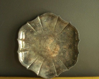 Vintage Silver Petal Tray - Round Silverplate Platter or Serving Tray