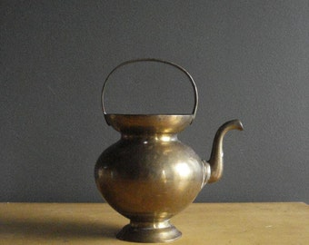 Bright Brass Kettle - Vintage Brass Tea Kettle or Vase