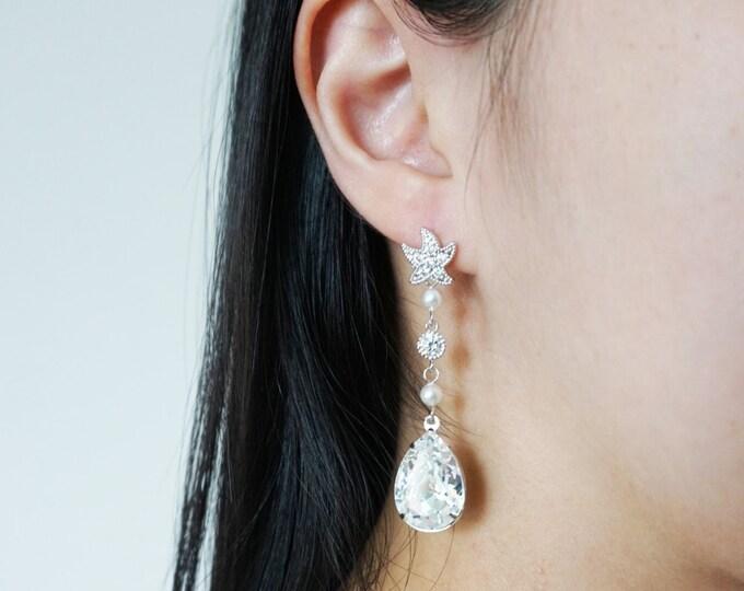 Haya - Crystal Starfish Ear Post with Swarovski crystal Pearls drop, Bridal Wedding Earrings, Bridesmaids, Bridal Party, Beach Wedding