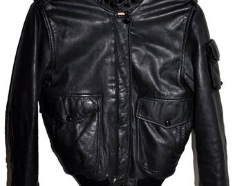 Vintage 80s HARLEY DAVIDSON AMF Cafe Racer Black Leather Jacket Hein Gericke Small S Extra Small xs