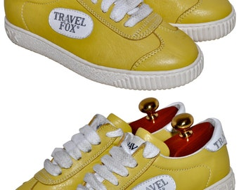 Vintage TRAVEL FOX Yellow Leather Sneakers Made in Italy Ultra Rare USA 6 Eur 36