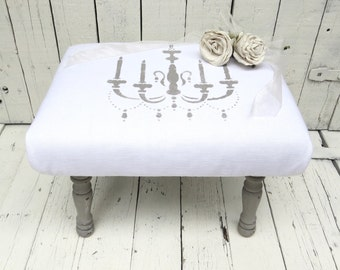 White Foot Stool, Old Gray Stool, Vintage Stool, Chandelier Decor, Paris Flea Market, French Cottage Decor, Rustic Decor, Shabby and Chic