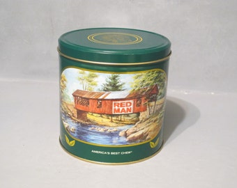 Vintage Red Man Chewing Tobacco Tin 1988 Limited Edition / Green Can Storage Advertising Container, Native American Indian Chief, Tobacciana