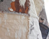 Rag Quilt - Kiddie Size - Hello Bear - Handmade, Unique, Reversible - READY TO SHIP