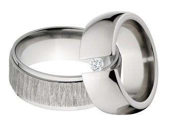 Tree Bark Ring and Tension Set Ring,  His & Her's Ring Set: 8RC-TB, 8HR-.25Tension-CZ