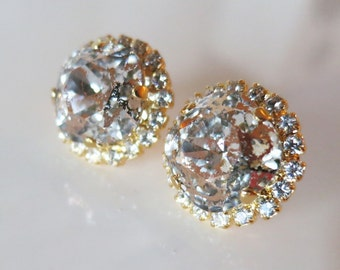 Blush Gold Earrings,Gold stud earrings,Crystal Studs,Pink Patina Earrings,Swarovski ear studs,Rose Patina Earrings,Sparkling Bridal Jewelry
