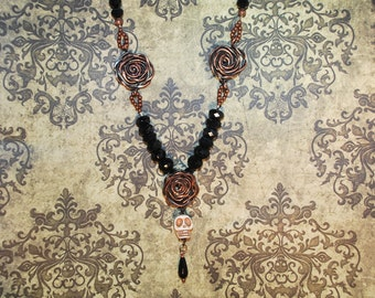 Skull Roses Necklace Copper Halloween Dia de Los Muertos Day of the Dead Black Crystal and Copper Beads Victorian Sugar Skull Gothic Creepy