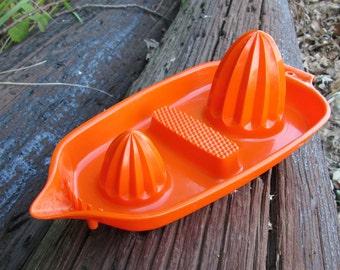 Citrus Juicer Reamer Hutzler 1970 Orange Hard Plastic Combo Grater and Zester Item No. 55 Vintage