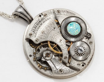 Steampunk Necklace with Vintage Waltham Pocket Watch Movement Flower Engraving on Silver Rope Chain, Crystal & Opal Gemstone Pendant Jewelry