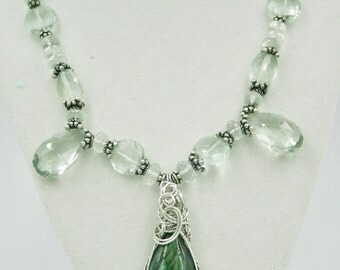 Romantic Green Amethyst and Labradorite Necklace On SALE Price Reduced