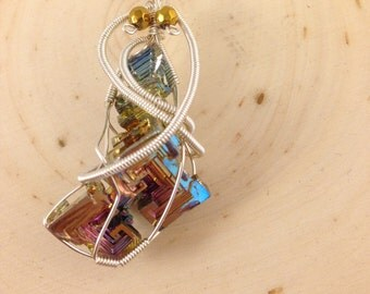 Stunning Wire Wrapped Rainbow Bismuth Pendant Necklace