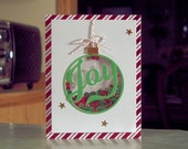 "Handmade Christmas Joy Ornament Shaker Card - 5.5"" x 4.25"" - Red, Green, Gold & Silver Sequins"