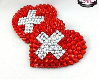 Cross Your Heart Rhinestone Nipple Pasties - SugarKitty Couture