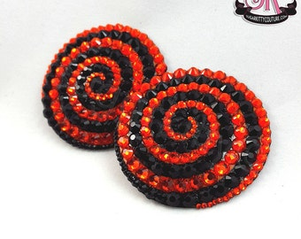 Spiral Swirl Round Rhinestone Nipple Pasties - SugarKitty Couture