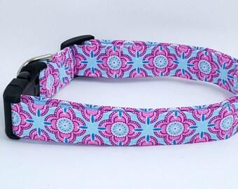 Pink and Blue Floral Medallion Dog Collar
