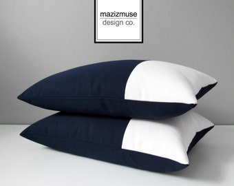 Navy Blue & White Outdoor Pillow Cover, Decorative Color Block, Nautical Pillow Cover, Modern Sunbrella Pillow Cover, Cushion Cover